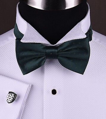 White Luxury Tuxedo Formal Shirt Wedding Evening Party Dinner Free Black Bow Tie