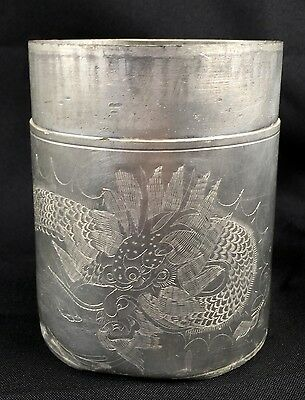 Vintage Chinese Kut Hing Swatow Pewter Tea Caddy Canister Pot Dragon Decoration