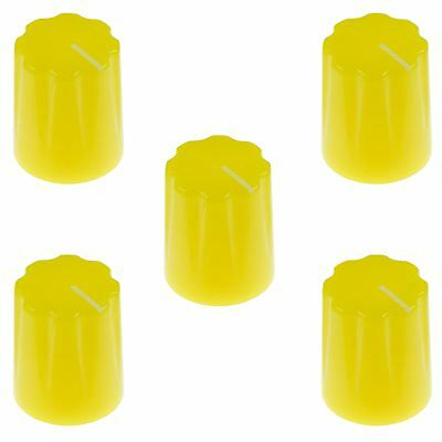 "5 x Yellow Davies 1900H Style 1/4"" 6.35mm Guitar Potentiometer Knob"
