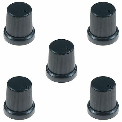 5 x Black 6mm Knurled Shaft Potentiometer Switch Knob