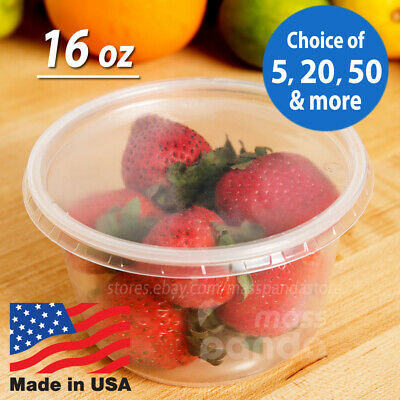 16oz Round Deli Food/Soup Storage Containers w/ Lids Microwavable Clear Plastic
