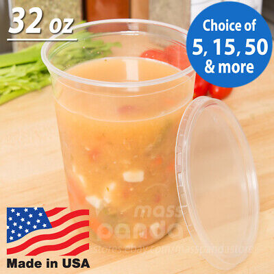32oz Round Deli Food/Soup Storage Containers w/ Lids Microwavable Clear Plastic