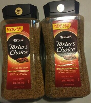 2 Jars Of Nescafe Tasters Choice Instant Coffee House Blend 12 oz Each