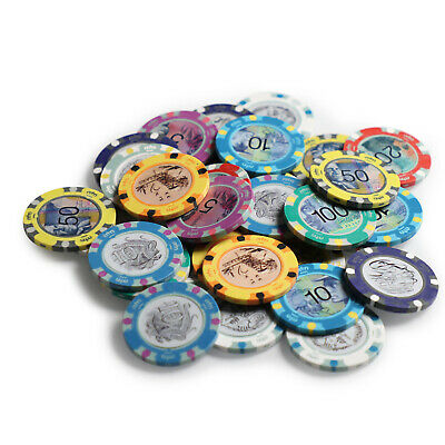 Aussie Currency Poker Chip Sample Pack 8 Chips 14g Clay New Casino Gambling