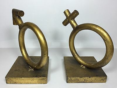 Vintage Mid Century Modern '69 Curtis Jere Sexes Sculpture Bookends Signed