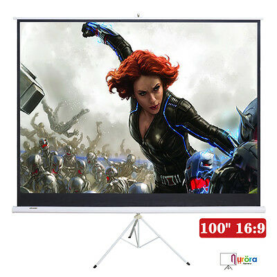 100'' Projector 16:9 Movie Tripod Projection Screen Matte White Portable Pull-Up