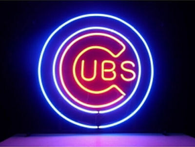 Mlb Chicago Cubs Logo Neon Sign Real Glass Tube Light Beer Bar Pub Store