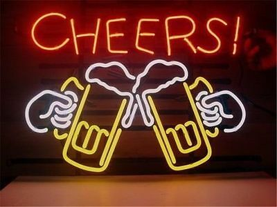 "CHEERS BEER Glass Real Neon Light Sign Display Beer Bar Pub Store Club 17""X14"""