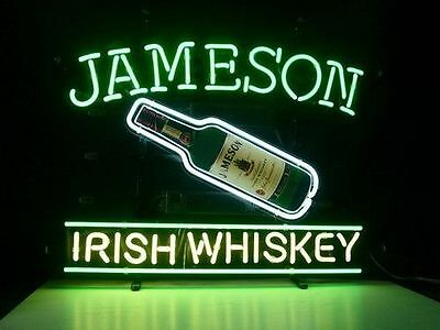 New Jameson Irish Whiskey Real Glass Neon Light Sign Home Beer Bar Pub Sign