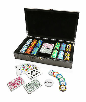 300 Chips Poker Game Set Luxury Carbon Fibre Monte Carlo 14g Chips COPAG Cards