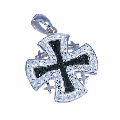 Jerusalem cross Silver 925 Black & White Swarovski hand craft Blessed pendant