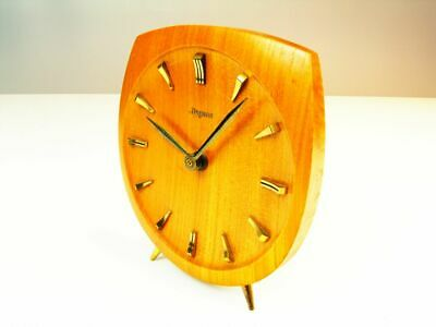 Beautiful Later Art Deco Bauhaus Modernism Wood  Desk Clock  Dugena - Kienzle