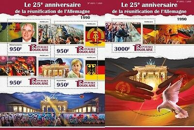Z08 Imperforated TG15509ab TOGO 2015 Reunification of Germany MNH Postfrisch Set