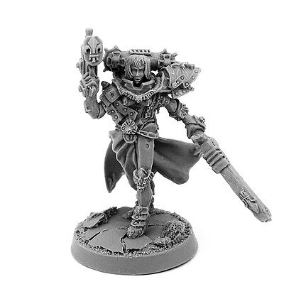 28mm-scale BATTLE SISTER SORORITA WITH GUN AND CHAINSAW-SWORD