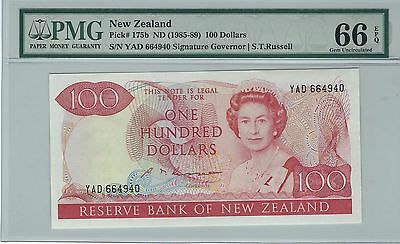 NEW ZEALAND $100 1985-89, P 175b, RUSSELL SIG, QEII, PMG 66EPQ. LOVELY