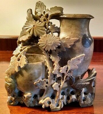 Asian Antiqu Chinese Brush Pot Hand Carved Soapstone Double Spill Vase Sculpture