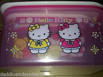 New HELLO KITTY 3 x Sealable Lunch Boxes Containers