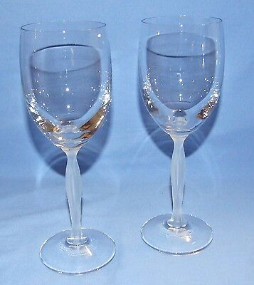 Mikasa Crystal Wine/Water Goblets-Ballet Pattern - Frosted Stem - Set of 2