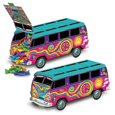 GROOVY 60'S HIPPIE BUS Cardboard CENTERPIECE Display Birthday Party Decoration