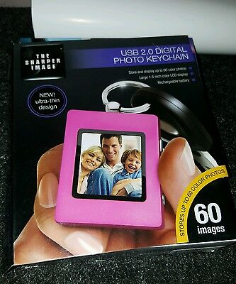 The Sharper Image USB 2.0 Digital Photo Keychain Pink - New in Box