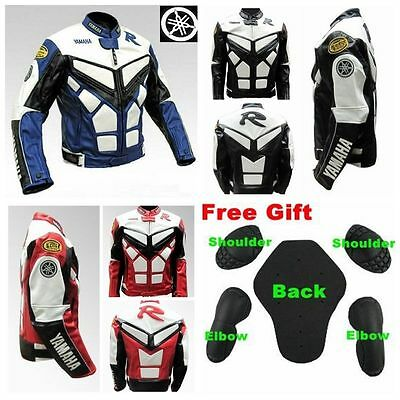 Motorcycle Yamaha YZF-R-R1-R6 Racing Jacket Leather Blue /Black /Red All Size