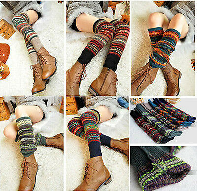 Women Ladies Warm Winter Wool Leg  Warmers Knitted Crochet Socks Leggings