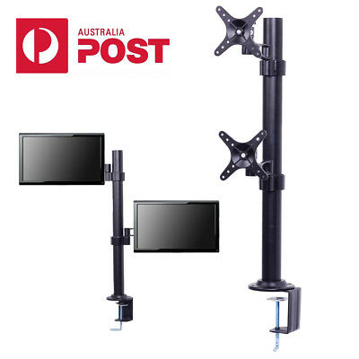 "2 Arm 10""-27"" LCD Monitor HD TV Bracket Computer Screen Stand Holder Desk Mount"
