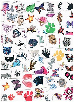 50 x Assorted Kids Temporary Tattoos -  Bulk Party Favours - Heaps of designs