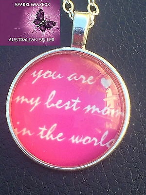 Brand New 2017 Mothers Day You Are My Best Mum In The World Pink Sp Necklace103