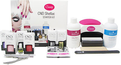 CND Shellac Deluxe GEL 13 Item Nail Starter Kit - With Classy Nails 48W LED Lamp