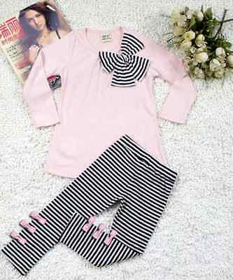 Girls leggings tunic-top bow outfit -set