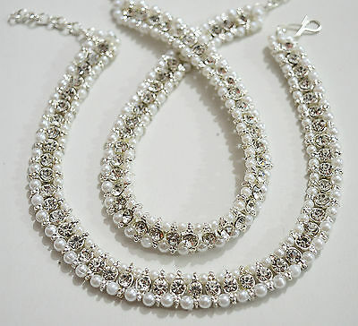 Indian Belly Dance Silver Tone Stone Payal Anklet Chain Oxidized Jewelry Set
