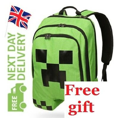 Minecraft Backpack School bag Boys Green Creeper Rucksack Sports Bag Waterproof
