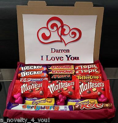 Large Mothers Day Chocolate Gift Box Hamper Personalised Just For You Love Heart
