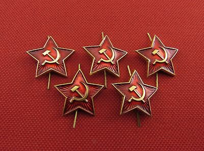 Soviet USSR Russian Army Military Red Star Cap Badge Cockade 5 Pieces