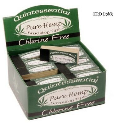 QUINTESSENTIAL PURE HEMP Filter Tips Cigarette Smoking Roach 50 Roaches FULL BOX