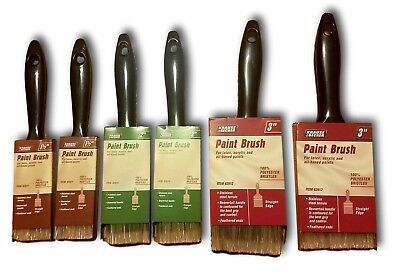 "Set Of 6 Synthetic Paint Brushes Assortment All Purpose Sizes 1.5"" 2"" 3"""