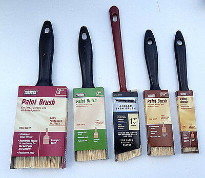 "Set Of 5 Synthetic Paint Brushes Assortment All Purpose Sizes 1"" 1.5"" 2"" 3"""