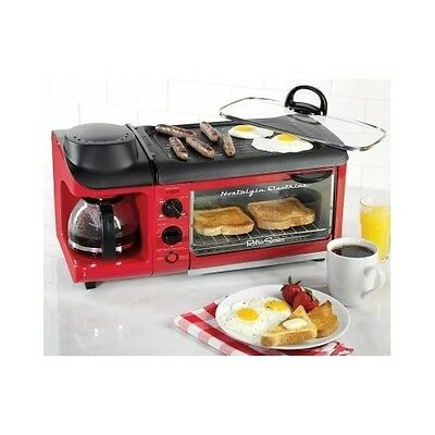 Coffee Maker Toaster Oven Griddle 3-in-1 Cooker Breakfast Kitchen Counter Home