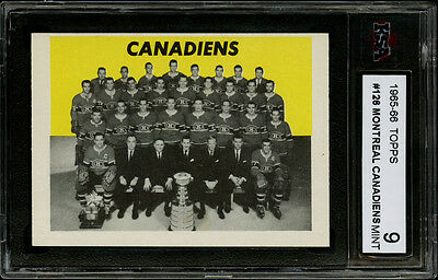 1965-66 Topps~#126~Montreal Canadiens Team Card~Stanley Cup-22 Time~Ksa 9 Mint