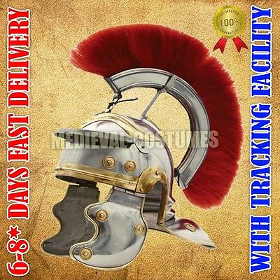 Roman Centurion Helmet with Red Plume Medieval FREE LINER Chin Strap RF140