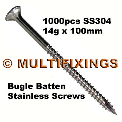 1000pcs - 14g x 100mm SS304 Stainless Steel Bugle Head Timber Decking Screws