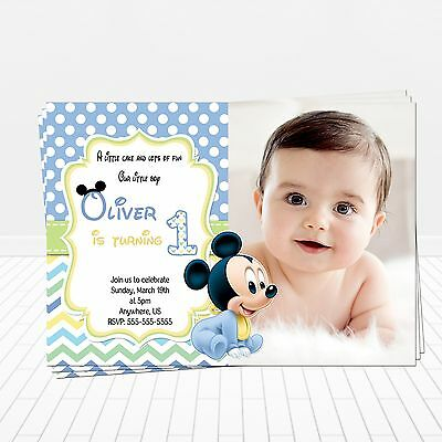 Baby Mickey Mouse 1st Birthday Invitations Print Your Own Digital