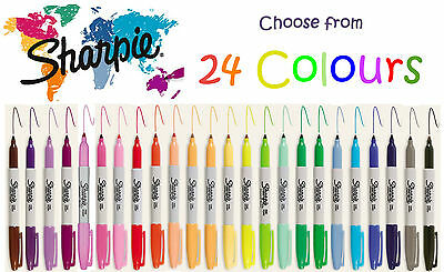Sharpie Fine Point Permanent Market Texta Pens - 24 colours to choose from