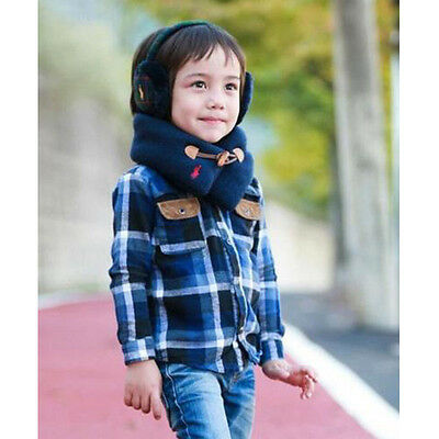 Boys Girls Toddlers Baby Kids Neck Winter Warm Knitted Snood Scarf Shawl Buckle
