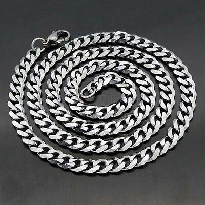 Men's Boys Silver Tone Curb Link Stainless Steel 3/5/7mm Chain Necklace 18-36''