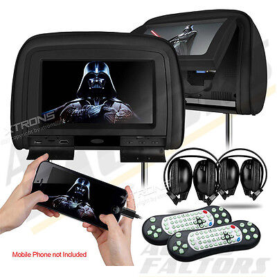 """2x 9"""" Wide Screen Car Dual Monitor Twin Leather Headrest DVD Player HDMI/GAMES"""