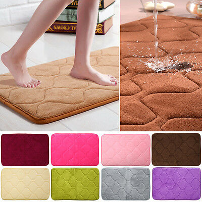 Memory Foam Rug Bathroom Bath Mat Bedroom Non-slip Mat Shower Carpet 40x60cm BGO