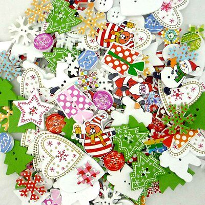 10/50/200/500pcs Assorted Christmas Wooden Button Lot Craft Card Embellish DIY