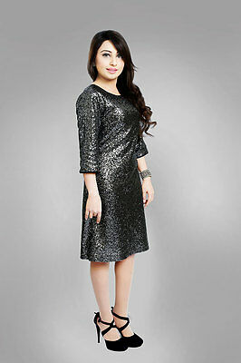 SHERRY FASHION WOMENS Plus Size Sequin Party Dress in Black & Silver, Size  8-24